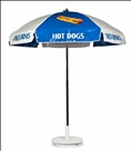 BLUE & WHITE HOT DOG CART UMBRELLA