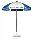 BLUE & WHITE ICE CREAM CART UMBRELLA